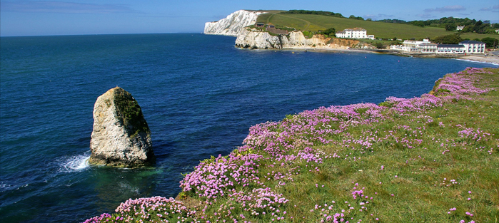 Looking west across Freshwater Bay. Tennyson's monument is just out of sight.