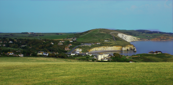 The view east across Freshwater Bay from Tennyson Down from a little further away.