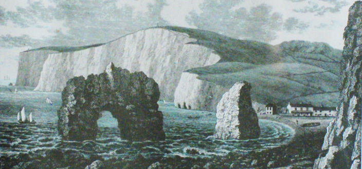 Looking west across Freshwater Bay during the Victorian period. The rock arch has now been eroded.