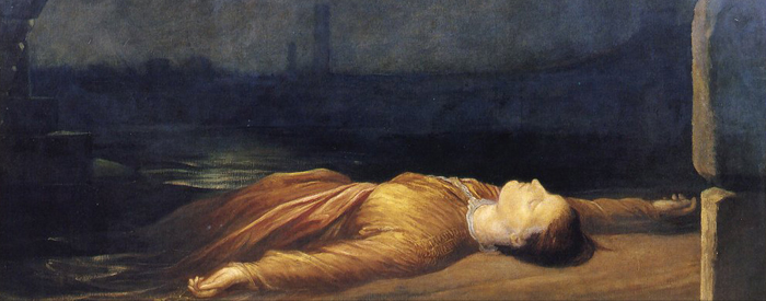 An early painting by Watts, Found Drowned which he did before living with Sara Prinsep. It shows the corpse of a young servant girl washed up under Waterloo Bridge in London.
