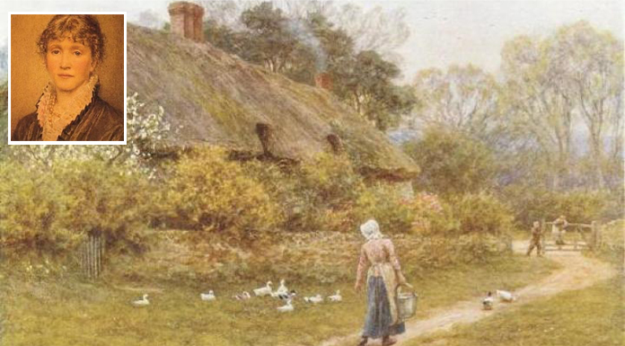 William Allingham was married to Helen Allingham (top-left), the water colour painter. Painting of Cottage near Farringford House, by Helen Allingham.