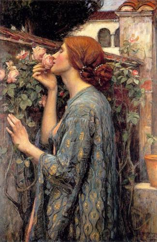 'And the soul of the rose went into my blood' (from Tennyson's 'Maud'). 'The Soul of My Rose' by John William Waterman, 1908.