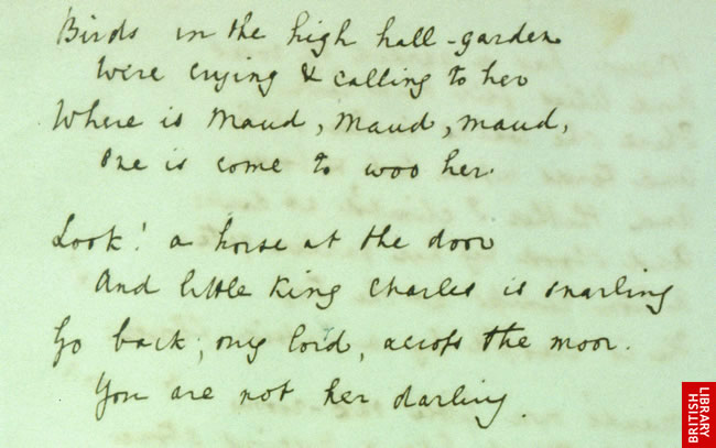 Alfred Lord Tennyson's fair copy of Maud, written 1854.