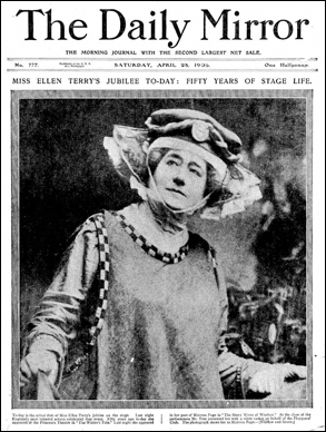 Daily Mirror front page. Ellen Terry celebrates 50 years on stage.