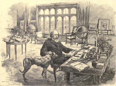 Alfred, Lord Tennyson in his study