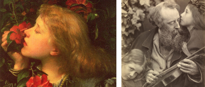 Ellen Terry, aged 16, in 1864. Painted by Watts (left). Watts, aged around 47 in 1865. Photographed by Julia Margaret Cameron (right).
