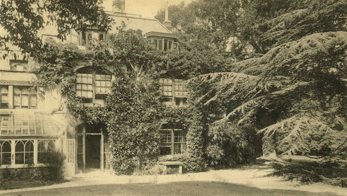 "Picture of Farringford House with the quote ""Now that Tennyson's fame encircled the globe, Farringford became one of the most overun spots in Europe, people lurking about the shrubberies, staring in at his windows, and watching him as he walked out of his gates"" Napier (1892). the Homes and Haunts of Tennyson."